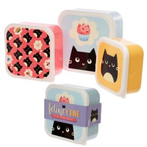 Feline Fine Lunch Boxes - Set of 3