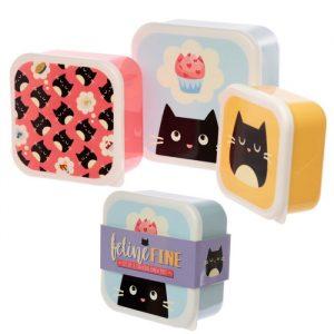 Feline Fine Lunch Boxes - Set of 3