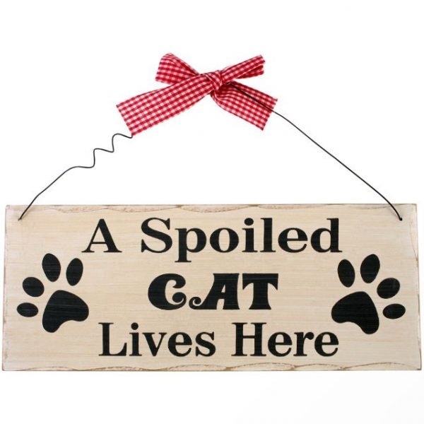 'A Spoiled Cat Lives Here' wooden wall plaque